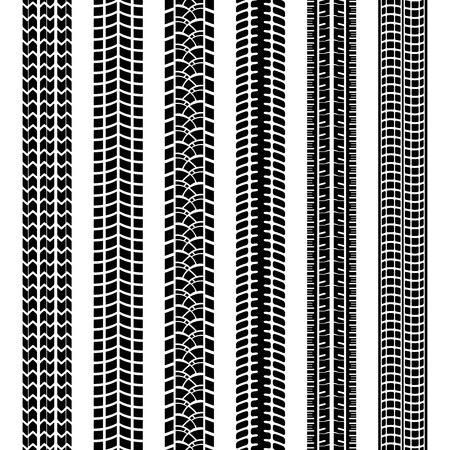 treads: Set of black and white tire tracks Illustration