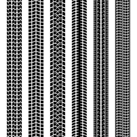 Set of black and white tire tracks Illustration