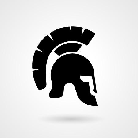 cartoon soldat: Silhouette eines alten römischen oder griechischen Helm Illustration