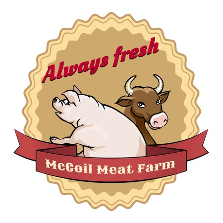 slaughter: McCoil Meat Farm label - Always fresh Illustration