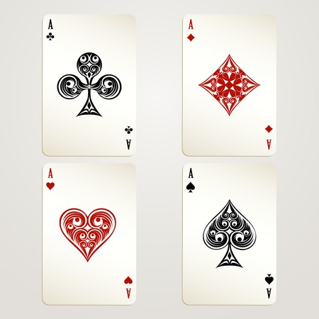 playing with money: Four aces playing cards Illustration