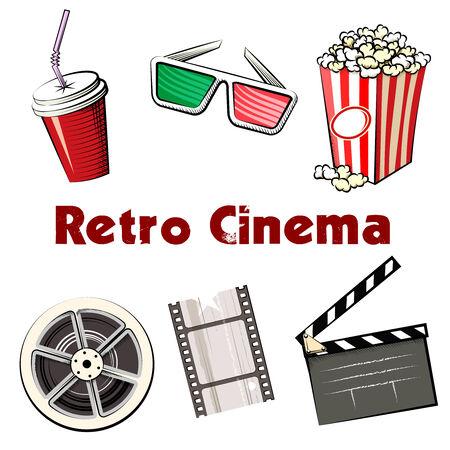 Set of colored Retro Cinema icons Vector