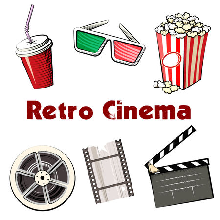 Set of colored Retro Cinema icons Vector