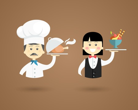 hospitality industry: Profession character icons of a chef and waiter
