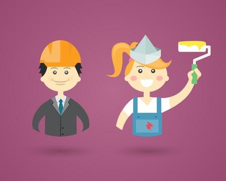 decorator: Professions- Engineer and Interior Decorator Illustration