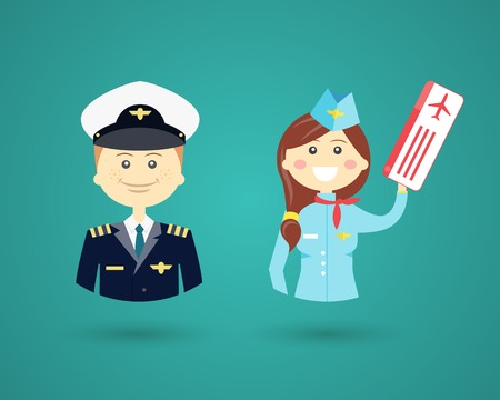 Professions- pilot and flight attendant 向量圖像