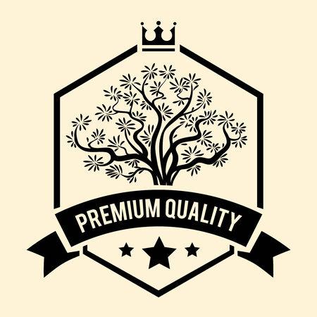 salatdressing: Premium-Qualit�t Abzeichen oder Etikett f�r Oliven�l Illustration