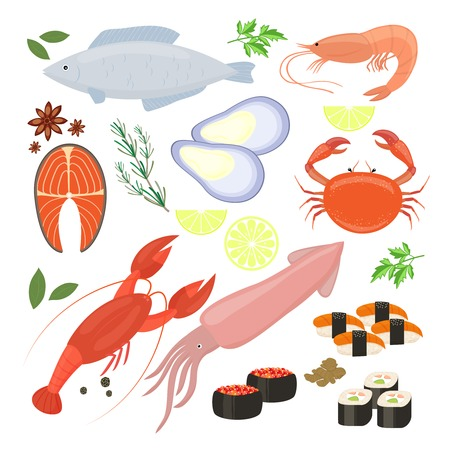Selection of seafood  shrimp and sushi icons Illustration