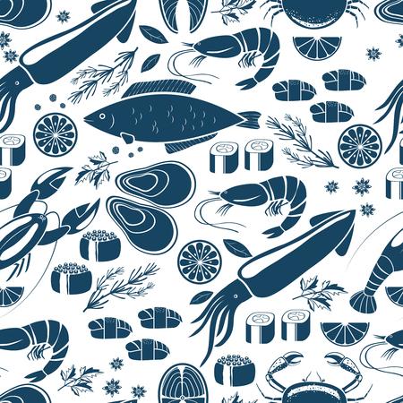 garnish: Fish  sushi and seafood seamless background Illustration