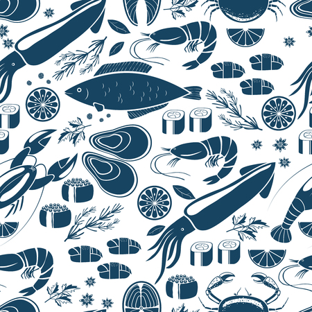 Fish  sushi and seafood seamless background Illustration