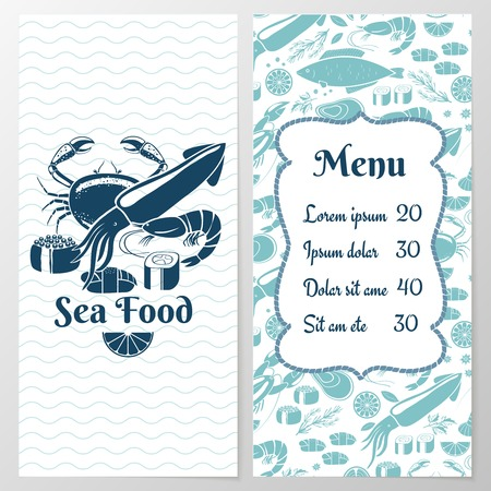 krill: Two Paged Blue Fish Menu with Graphic Illustration