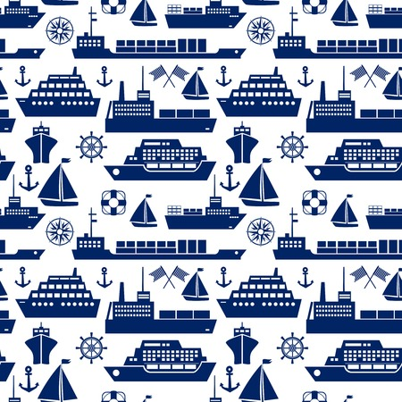 Ships and boats marine seamless background Vector