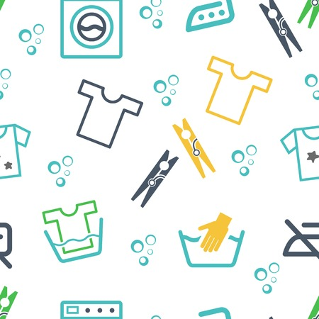 Various Laundry Themed Icons Vector