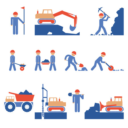 workmen: Earthwork and Road Construction Icons
