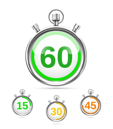 elapsed: Vector timers or stopwatches Illustration