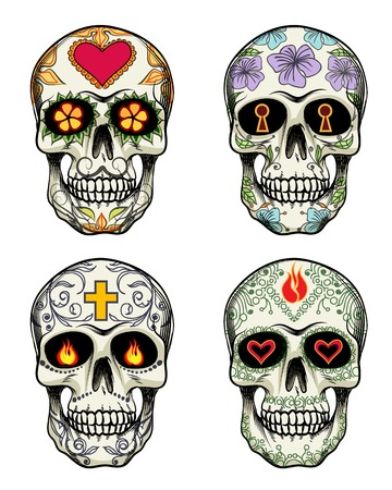 sugar skull: Skulls with flowers