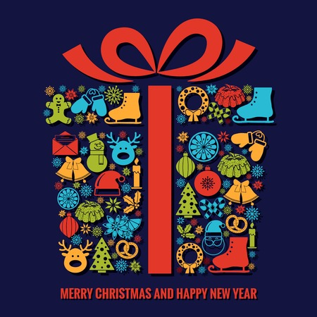 Christmas and New Year card template Vector
