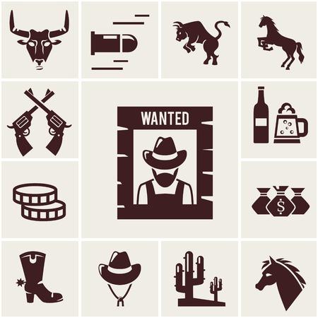 botas vaqueras: Wild West quiso el cartel y los iconos asociados