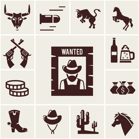 cowboy boots: Wild West wanted poster and associated icons