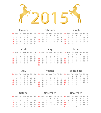 asian business meeting: Calendar Template 2015 with Goat Icons