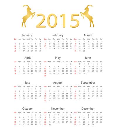 business meeting asian: Mod�le de calendrier 2015 avec ch�vre Ic�nes Illustration