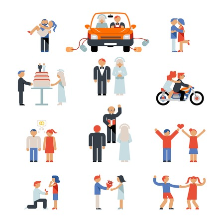 just married: Assortment of Couple Icons