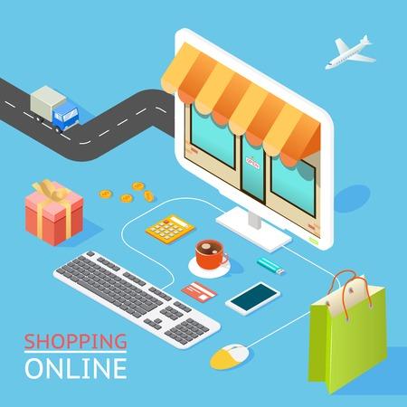 e shopping: Concept of online shop Illustration