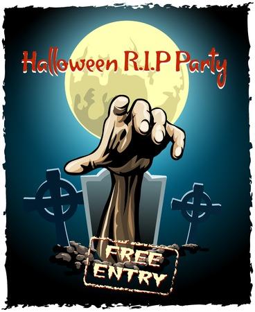 tonto: cartel fiesta de halloween zombie Vectores