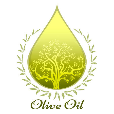 extra virgin olive oil: Olive oil label or emblem Illustration