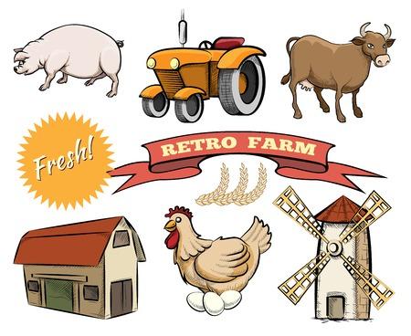 old tractor: Set van Retro Farm vector iconen