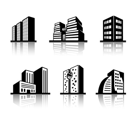 high rise: Set of black and white building icons