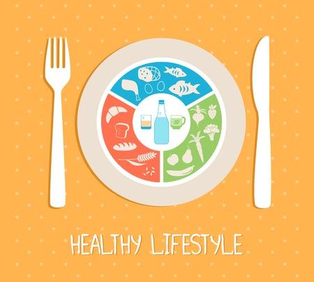 healthy food plate Vector