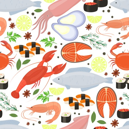 Seafood and spices  background for restaurant menu Illustration