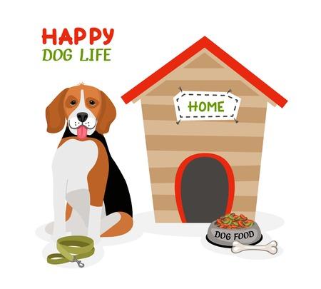 beagle: Happy Dog Life poster design Illustration