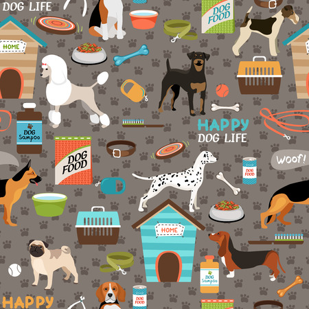 kennel: Dogs seamless background pattern