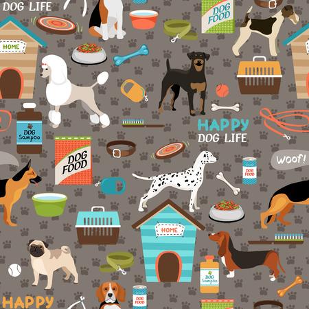 hueso de perro: Perros patrón de fondo sin fisuras