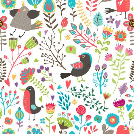 thrush: Hand-drawn birds and flowers seamless pattern