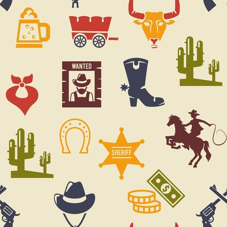 cowboy gun: Western and rodeo seamless background pattern