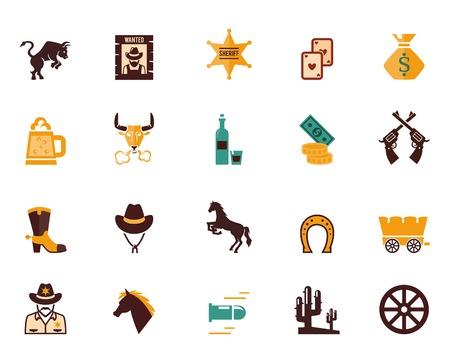 botas vaqueras: Amplio conjunto de iconos vectoriales planos occidentales Vectores