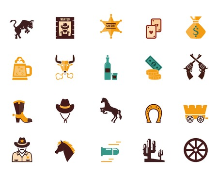 cowboy gun: Large set of Western flat vector icons Illustration
