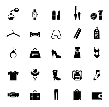 comb: Assortment of Black Clothing and Accessory Icons Illustration