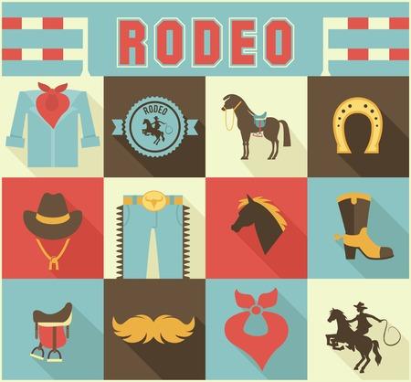 rodeo americano: Surtido de Rodeo Iconos temáticos Vectores