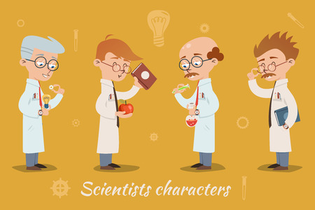 bald cartoon: Set of four vector scientist characters Illustration