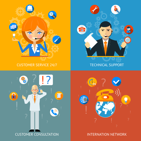 Technical Support and Customer Service Icons Vector