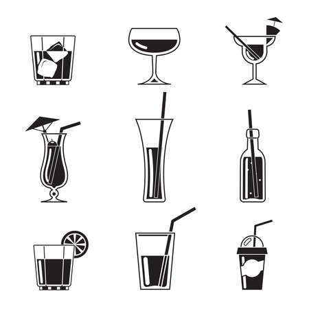 assortment: Assortment of Black Cocktail Icons