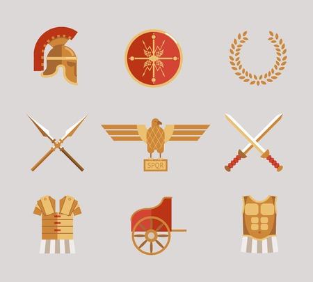 cascos romanos: Conjunto de accesorios antiguos guerreros Vectores