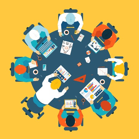 circulo de personas: Lluvia de ideas y el trabajo en equipo concepto Vectores