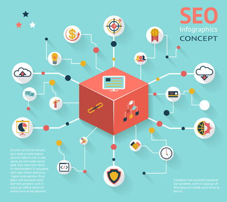productivity system: SEO Infographic Icon Concept