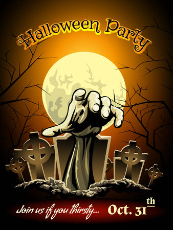 groping: Halloween Party Invitation with Zombie Graphic