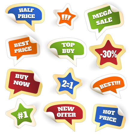 Assortment of Colorful Discount Sale Tags Vector
